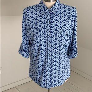 J McLaughlin blouse size large blue chains